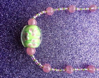 Necklace Green & Pink Floral Glass Bead and Pink Frosted Bead/ Lime Green/Pink Rocaille-Gift for her-Ladies Jewellery-Handmade Necklace