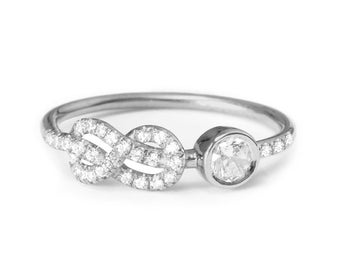 Diamond Infinity Engagement Ring, Cluster Ring, Pave Diamond Ring, Infinity Knot Ring, Solid Gold Ring, Art Deco Ring