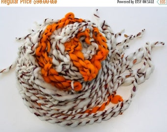 ENTIRE SHOP SALE Hand Knit Bulky Scarf, Pumpkin, Ivory and Orange and more, of Super Soft Handspun Hand Dyed Bulky Yarn