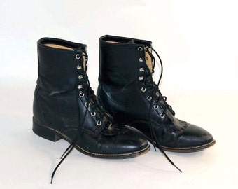 Vintage Black Lace Up Roper Boots, Kiltie Lace Up Paddock Granny Riding Boots, Grunge Broken in Boots by Laredo 9.5