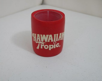 Vintage Red Hawaiian Tropic Sunblock Pal, Tree Can and Bottle Holder Insulator