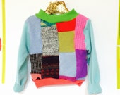 LEAP 3-4 Years Kids Childrens Cashmere Patchwork Jumper Sweater Top Upcycled Wool Unisex