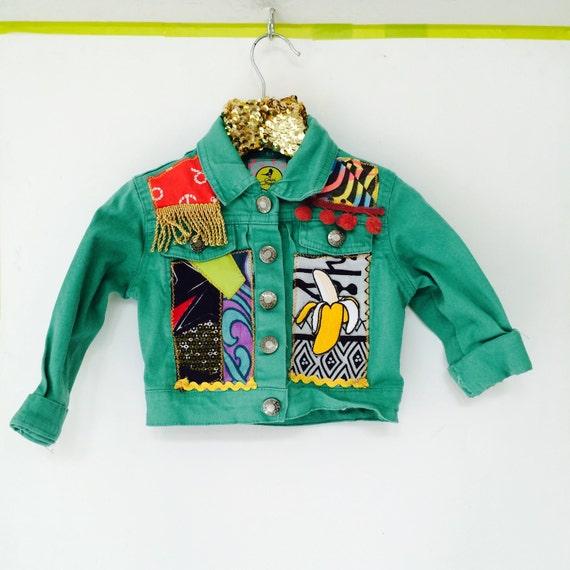 JUMP 3-6m Denim Jacket Upcycled with African fabric Pom Pom Trim Unisex Mh