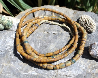 2 Strands Vintage African Trade Beads, Pressed Glass, Sand Cast, Beads Traveling the Globe, T.51