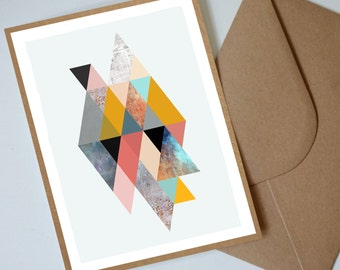 """Geometric Retro Triangles Note Card 5x7"""", Birthday Card, Thank you Card, Penelope and the Ducks"""