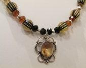 Queen Bee Honey Quartz Wasp Necklace