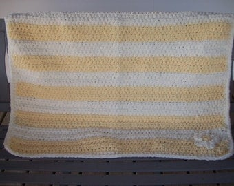 Yellow,White,Crocheted,Baby,Girls,Infants,Toddlers,Photo Prop,Afghan,Blanket,Crib,Cover,Stroller,Car Seat