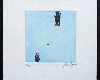 Abstract Etching and Red Circle. Original Printmaking. Abstract Aquatint. Minimalist Print. Black and Blue. Square Art. Hand Pulled Print.