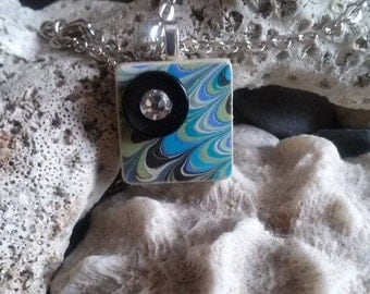Upcycled Game Tile Pendant with Marbled Paper