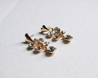 Dangle rhinestone earrings- little heart- golden earrings - shabby chic earrings- fashion jewelry