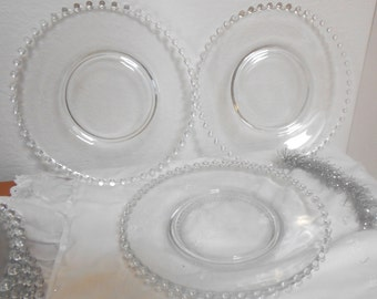 Four Vintage Candlewick 9 Inch Dinner Plates,  Imperial Glass Plates, Set of 4