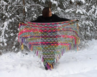 Crochet Shawl, Handmade Shawl Wrap, Crochet Triangle Shawl, Evening Shawl, Mothers Day Gift, Rainbow Colors, Cozy Wrap Shawl, Gift for Her