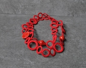 Red fabric necklace, cotton and ceramic beads, metal free jewelry, fabric jewelry, textile jewelry, Gift for her