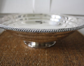 silver bowl, silver pedestal bowl, silver Viking pedestal bowl, silver plated bowl, large silver bowl