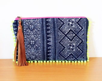 Batik boho clutch with neon pompoms, Hmong hilltribe design handbag, handmade natural dye fabric pouch, with tassels. Ready to ship