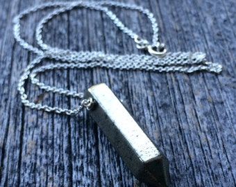 PYRITE POINT fools gold crystal sterling layering necklace