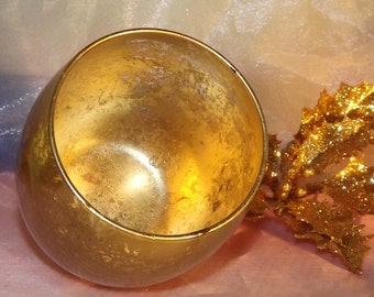 Glass Large Round Votive Holders of Gold Mercury Votive Candle holders for Weddings, Parties, Gifts, Events. Centerpiece   2/po
