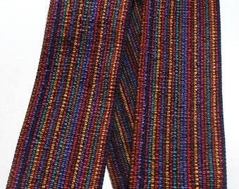 "Woven Ribbon - 3 1/2"" x 1 yard Multi Color Striped Ribbon"