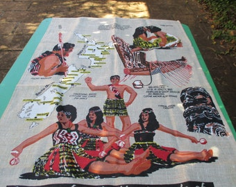 Tea Towel Vintage from - New Zealand - Greetings from the Maori People