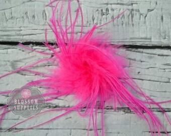 HOT PINK - The Stephanie Collection - Ostrich Puffs - DIY Flower Headband Supplies - Feather Marabou Curly Ostrich Flower Blossom Supplies