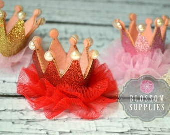 Glitter Pearl Ruffle Tulle Crowns - DIY Birthday Tiara Crown Headband Clip Hat - Wholesale Craft Supplies - 1st Birthday Bow - Gold Silver