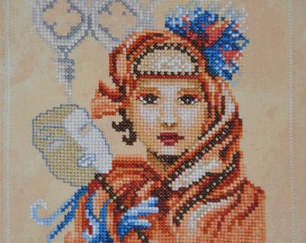 Finished Completed Cross Stitch -Lanarte  Venetian Mask - Small - (34936) crossstitch counted cross stitch