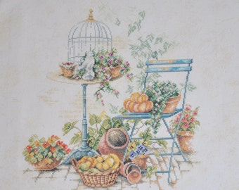 Finished / Completed Cross Stitch - Lanarte (34300) Idyllic Garden Scene crossstitch counted cross stitch