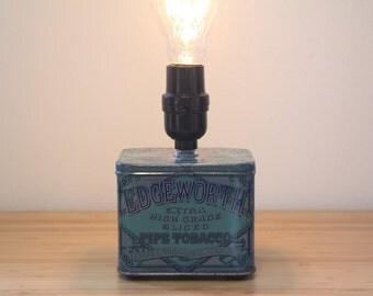 Vintage Tin Edison Lamp / Upcycled Lighting / Edgeworth Tobacco / Americana / Vintage Graphics / Rustic Metal / Anitque Filament Bulb