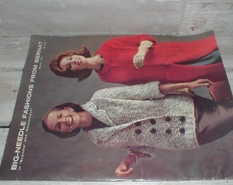 1962 Big Needle Fashions From Bernat Knitting Pattern Booklet For Men & Women