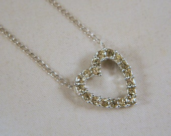 Vintage 1970s Sarah Coventry Rhinestone Heart Necklace / Silvertone Heart Necklace / New Old Stock Necklace / Valentine's Day Gift