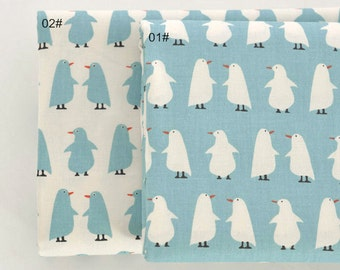 Twill Cotton Fabric for craft, Penguin pattern with Green Fabric, Quilting Fabric 1/2 Yard (QT991)