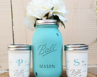 Ball Mason Jar Rustic Shabby Chic Kitchen Set of 3 Salt and Pepper Shakers and Utensil Holder