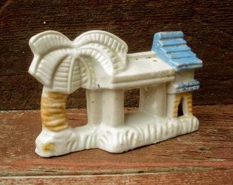 1930s Vintage Aquarium Ornament Original Made in Japan Pottery Antique Ceramic Japanese Temple & Palm Tree Fish Tank Fish Bowl Furniture MIJ