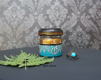 Moroccan Style Decorative Jar Ring Holder - Bohemian Turquoise Black Bronze Beaded Mini Jar - Repurposed Glass Jar
