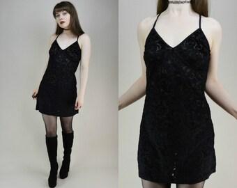 90s Black Velvet Burnout Crossback Babydoll Mini Dress S