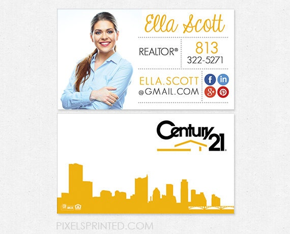 Century21 realtor business cards thick color by Printed