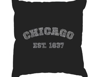 Throw Pillow Cover - Word Art - Chicago 1837