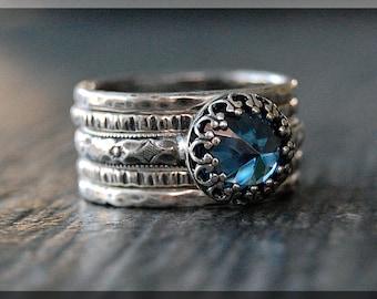 Blue Zircon Ring Stack, Set of 5 Rings, December Birthstone Ring Set, Inverted Gemstone Ring, Zircon Stacking Ring, Birthstone Ring Stack