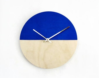 Vegan Leather Wall Clock, Blue and Wood, Housewarming Gift, Ready To Ship,  Home and Living, Home Decor, Decor and Housewares