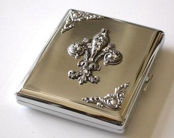 Fleur Des Lis Silver Cigarette Case King Size & 100's Cigarette Case Vintage Style Smoking Accessories Fleur des Lys Case