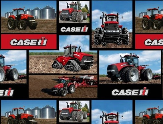 Case International Tractor Fabric : Caseih tractor block print fabric sold by the yard