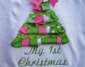 Christmas ribbon tree bodysuit with ribbons and bows