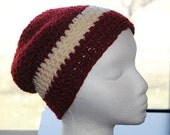 red chunky crochet adult beanie/hat 100% pure new wool