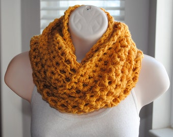 the chunky gold chain crochet infinity scarf