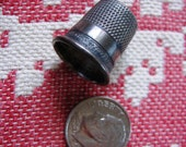Vintage Silver Thimble Marked Sterling inside with a Star Hallmark Old Sewing Basket Accessory Size Diameter 5/8 Inch Excellent Condition