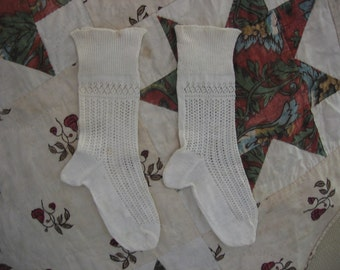 Edwardian Era Stockings Little Girl's Pair of Socks White Cotton Lacy Knit Pattern Ankle Socks with Open Work Design Accessory Excellent