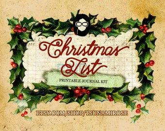 Journaling Kit - Christmas List - 18 journaling pages, digital paper pack, lined journal pages, grungy pages digital, clipart christmas