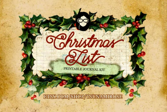 Printable Journal Kit - Christmas List - 26 Page Instant Download -junk journal kit, christmas printable, ephemera