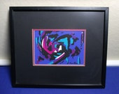 Rico Blass Signed Abstract Print 1960's Framed Listed German Artist
