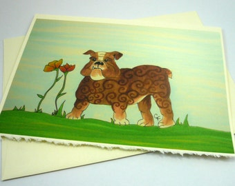 printed greeting card, colorful bulldog design, blank inside Ivory card with deckle edge, envelope included.